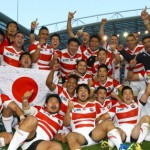 BRIGHTON, ENGLAND - SEPTEMBER 19: Japan players after the win over South Africa during the Rugby World Cup 2015 Pool B match between South Africa and Japan at Brighton Community Centre on September 19, 2015 in Brighton, England. (Photo by Steve Haag/Gallo Images)